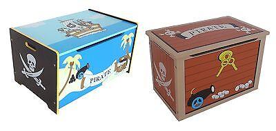 Kiddi Style Children's Pirate Wooden Treasure Chest Toy Box Storage Unit Kids (Pirate Chest Toy Box)