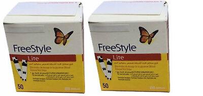 FreeStyle Lite Blood Glucose Test Strips - 100 each (2x50)/bx Exp: 2020-04