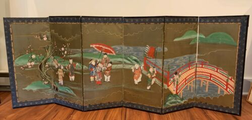 Antique JAPANESE SIX PANEL FOLDING SCREEN Edo Period