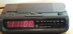 GE RETRO FM/AM CLOCK RADIO - BROWN / WOOD GRAIN LOOK - MODEL:7-4613B USED VGC