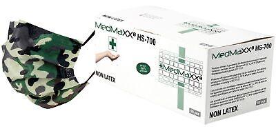 MedMaXX HS-600 3-lagige medizinische OP Maske Typ I grün camouflage 50x