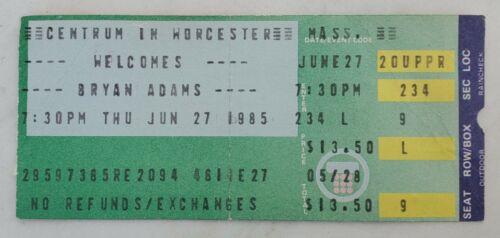 1985 BRYAN ADAMS @ CENTRUM WORCESTER MA CONCERT TICKET STUB-RECKLESS TOUR