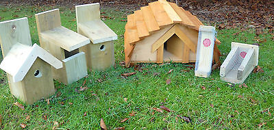 Hedgehog House & THREE Bird Nesting Boxes Plus TWO Bird Feeders