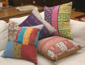 10-Vintage-Kantha-Quilt-Cushion-covers-pillow-handmade-16-Free-Shipping-INDIA