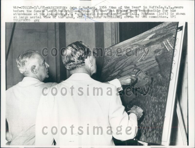 1958 Senator John McClellan With Labor Racketeer John Montana Press Photo