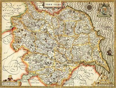 Yorkshire Historical Laminated Map (1610)