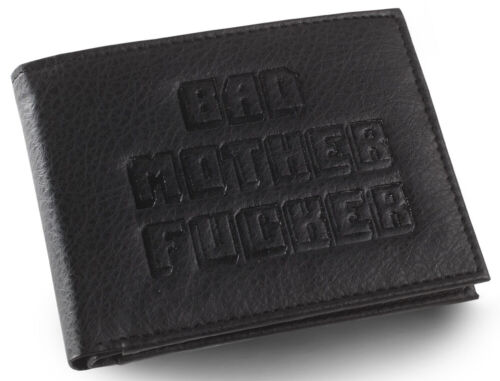 Black Embossed Bad Mother Fu**er Leather Wallet As Seen in Pulp Fiction
