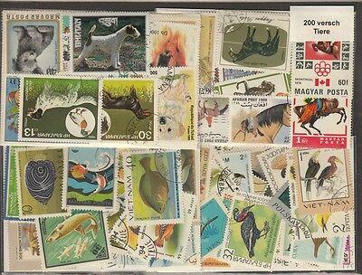 200 verschiedene Briefmarken Tiere