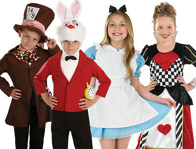 Childrens Alice In Wonderland Fancy Dress Costumes Role Play Outfit 4-12 Yrs - Alice In Wonderland Play Costumes