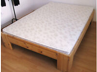 Double bed with full wooden slatted frame and medium firm mattress - REDUCED PRICE