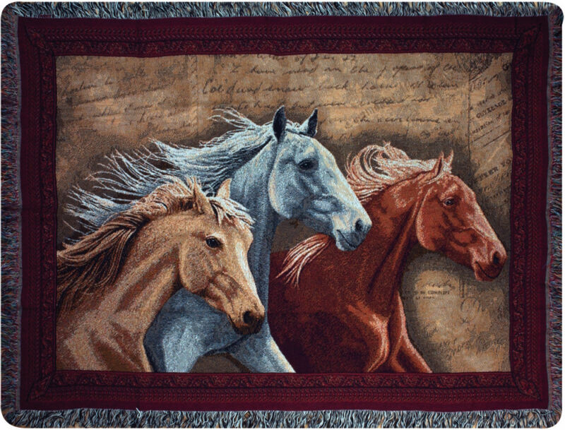 Three Horses Tapestry Afghan Throw