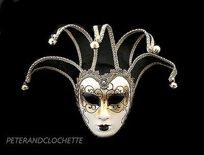 Mask from Venice Volto Jolly Black and Golden 5 Spikes for Fancy Dress 767 V40