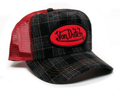 Authentic Brand New Von Dutch Red/Dark Grey Flannel Cap - Flannel Cap