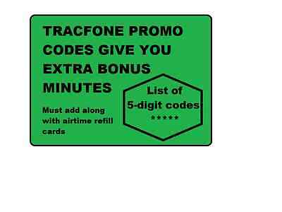 TracFone BONUS Minutes Promo Codes (use along w/airtime refill card )+SURPRISE (Tracfone Airtime Cards)