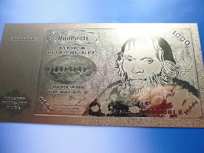 1000 MARK 1971 / 24 KARAT GOLD / GOLDFOLIENNOTE GOLDBARREN