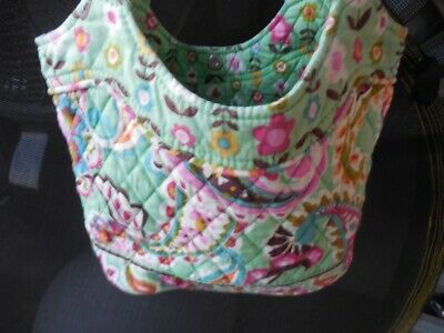 Vera Bradley Green Floral Print Small Bucket Purse Handbag