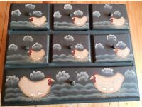TRINKET BOX used for storage, chicken design, has been used.