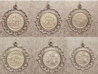 Lovely Sixpence Charm Pendant. Wedding, Birthday Gift.