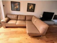 Real leather corner sofa in taupe.