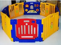 Large interchangeable foldable interactive playpen