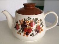 SADLER TEAPOT pottery retro vintage ENGLISH forest fruit strawberries blackberries for sale  Surrey