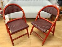 2 FRENCH WOODEN KITCHEN DINING CHAIRS, FOLDING, RED VINYL RATTAN WEAVE, MID CENTURY VINTAGE BISTRO