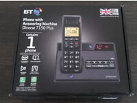 BT Diverse 7150 Plus Single DECT Phone with Answer Machine - Black Brand New