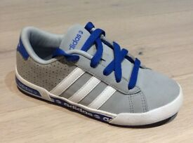 Boy's Trainers. Children's ADIDAS Trainers. Size 13. Grey - Blue. Adidas Three Stripes to Sides