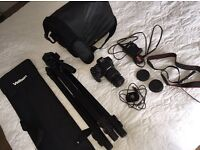 Canon EOS 1200D camera with strap, 18-55mm lense, tripod/bag , bag, battery, computer adaptor