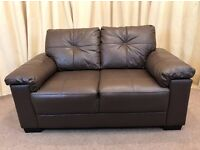 Brown Leather 2 Seater Sofa - Modern Small Leather Settee Stylish - FREE Delivery Available
