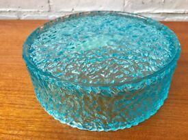 Vintage Blue Glass Bowl by Luna Crystal #393