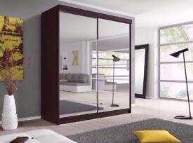 🔥❤120 150 180 203 or 250 CM WIDE🔥New CHICAGO Full Mirror 2 Door Sliding Wardrobe w Shelves,Hanging