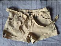 MANGO shorts size 8 eur 36 100% linen VGC khaki / beige