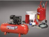 Sealey Shot & Soda Blasting Kit Sb997 25kg + Compressor Deal Belt Drive 3hp