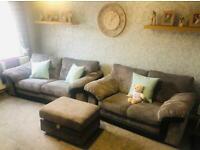 3 & 2 Seater Sofa + Footstool