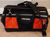 Black & Decker Zip Canvas Tool Storage Bag Duffle Case Black Shoulder Strap