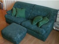 Green set 3-seater sofa + footstool + 2 armchairs