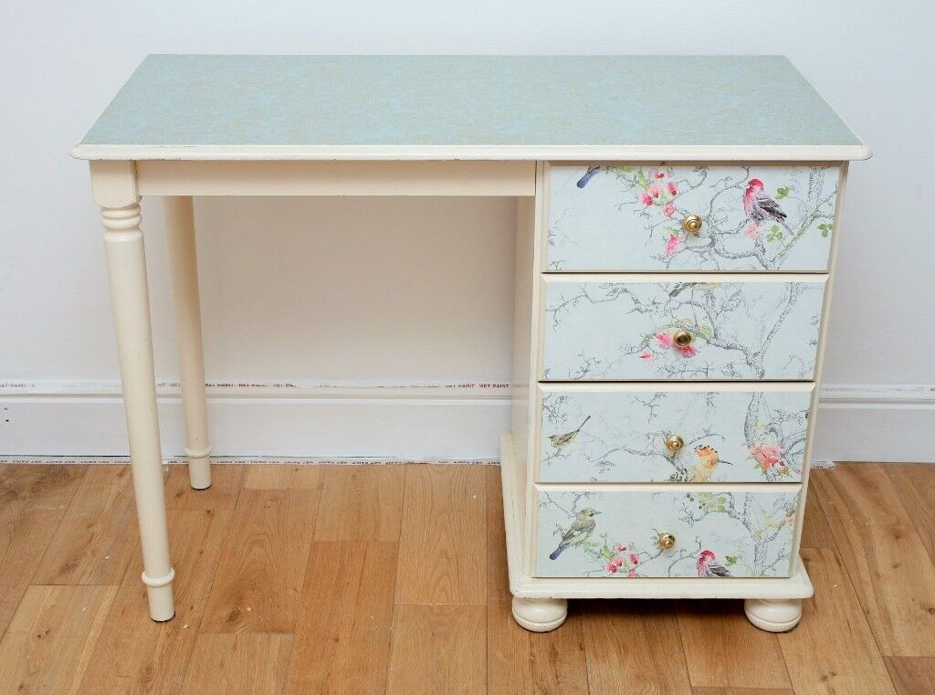 White Desk Solid Wood Small Painted Birds Wallpaper 4 Drawers