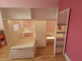 High Sleeper Bed with desk,wardrobe and sofachair/bed