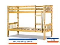 pine bunk beds including assembly service and delivery
