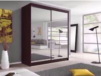 250CM FULLY MIRRORED 2 SLIDING DOORS BERLIN WARDROBE **SAME DAY DELIVERY**