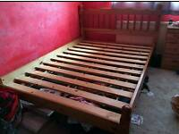 solid pine king size bed frame only