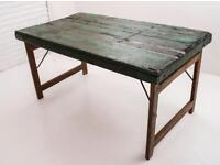 Hand made solid wooden bespoke folding table. With lots of rustic charm.