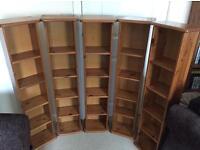 5 x wooden DVD / book racks - excellent conditon