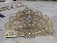 Antique Peacock Design Fan Shaped Fire Guard, Folding Cooper Screen Griffin