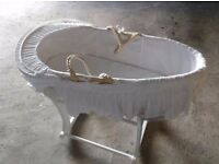 Moses basket and stand all white