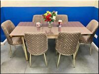 NEW HIGH GLOSS EXTENDABLE DINING SET WITH 6 CHAIRS NOW AVAILABLE IN DIFFERENT DESIGN