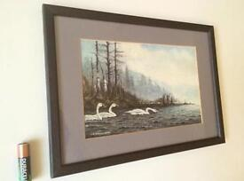 Vintage Small Watercolour Painting Lakeland Swans Grey Wood Picture Frame With Mount Signed