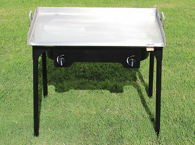Concord 32 X17 Stainless Steel Flat Top Griddle Grill W Manual Dbl Burner Stove