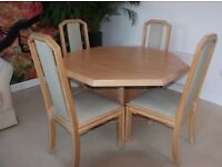 Wade Limed Oak Dining Table and 6 Chairs Extendable good condition
